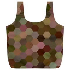 Brown Background Layout Polygon Full Print Recycle Bags (l)