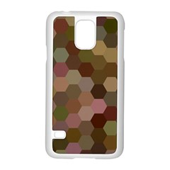 Brown Background Layout Polygon Samsung Galaxy S5 Case (white)