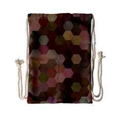 Brown Background Layout Polygon Drawstring Bag (small)