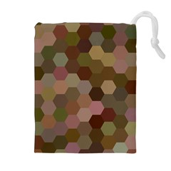 Brown Background Layout Polygon Drawstring Pouches (extra Large)