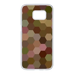 Brown Background Layout Polygon Samsung Galaxy S7 Edge White Seamless Case