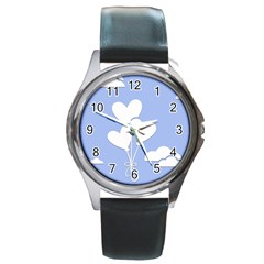 Clouds Sky Air Balloons Heart Blue Round Metal Watch by Nexatart