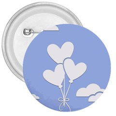 Clouds Sky Air Balloons Heart Blue 3  Buttons