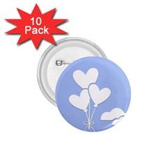 Clouds Sky Air Balloons Heart Blue 1 75  Buttons (10 Pack) by Nexatart