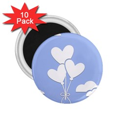 Clouds Sky Air Balloons Heart Blue 2 25  Magnets (10 Pack)
