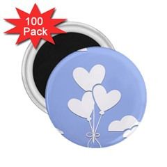 Clouds Sky Air Balloons Heart Blue 2 25  Magnets (100 Pack)  by Nexatart