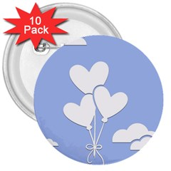Clouds Sky Air Balloons Heart Blue 3  Buttons (10 Pack)