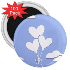 Clouds Sky Air Balloons Heart Blue 3  Magnets (100 Pack)