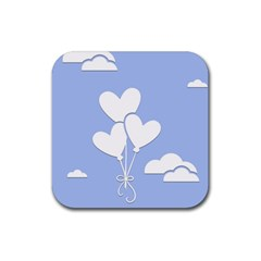 Clouds Sky Air Balloons Heart Blue Rubber Coaster (square)