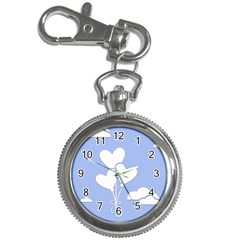 Clouds Sky Air Balloons Heart Blue Key Chain Watches by Nexatart