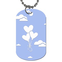 Clouds Sky Air Balloons Heart Blue Dog Tag (two Sides) by Nexatart
