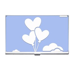 Clouds Sky Air Balloons Heart Blue Business Card Holders by Nexatart