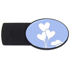 Clouds Sky Air Balloons Heart Blue Usb Flash Drive Oval (2 Gb)
