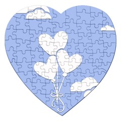 Clouds Sky Air Balloons Heart Blue Jigsaw Puzzle (heart)
