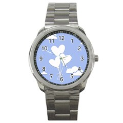 Clouds Sky Air Balloons Heart Blue Sport Metal Watch by Nexatart
