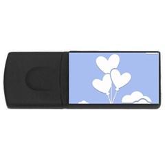 Clouds Sky Air Balloons Heart Blue Rectangular Usb Flash Drive by Nexatart
