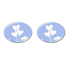 Clouds Sky Air Balloons Heart Blue Cufflinks (oval) by Nexatart