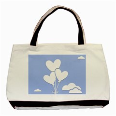 Clouds Sky Air Balloons Heart Blue Basic Tote Bag by Nexatart