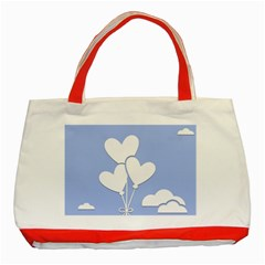 Clouds Sky Air Balloons Heart Blue Classic Tote Bag (red)