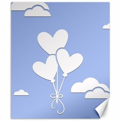 Clouds Sky Air Balloons Heart Blue Canvas 20  X 24