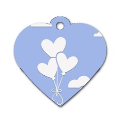 Clouds Sky Air Balloons Heart Blue Dog Tag Heart (one Side)