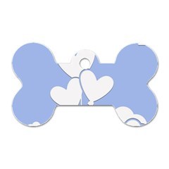 Clouds Sky Air Balloons Heart Blue Dog Tag Bone (two Sides) by Nexatart