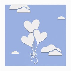 Clouds Sky Air Balloons Heart Blue Medium Glasses Cloth (2 Side)