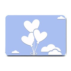 Clouds Sky Air Balloons Heart Blue Small Doormat