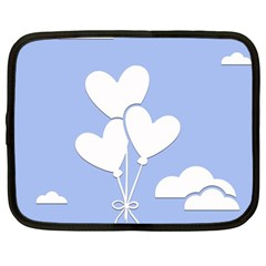 Clouds Sky Air Balloons Heart Blue Netbook Case (large)