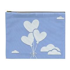Clouds Sky Air Balloons Heart Blue Cosmetic Bag (xl) by Nexatart