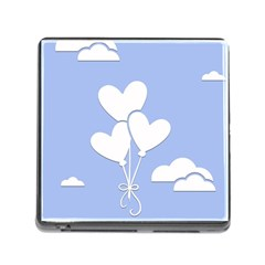 Clouds Sky Air Balloons Heart Blue Memory Card Reader (square)