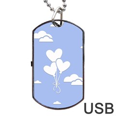Clouds Sky Air Balloons Heart Blue Dog Tag Usb Flash (two Sides)