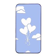 Clouds Sky Air Balloons Heart Blue Apple Iphone 4/4s Seamless Case (black) by Nexatart