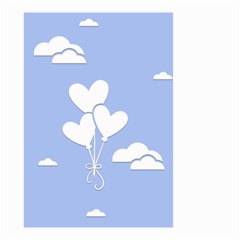 Clouds Sky Air Balloons Heart Blue Small Garden Flag (two Sides)