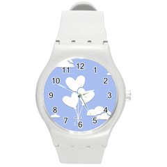 Clouds Sky Air Balloons Heart Blue Round Plastic Sport Watch (m) by Nexatart