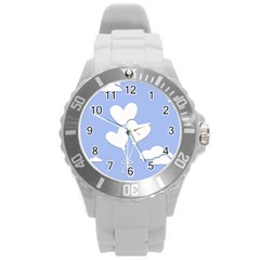 Clouds Sky Air Balloons Heart Blue Round Plastic Sport Watch (l) by Nexatart