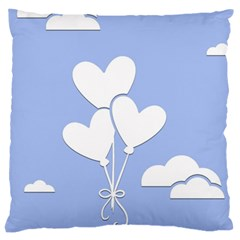 Clouds Sky Air Balloons Heart Blue Large Cushion Case (one Side)