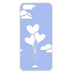Clouds Sky Air Balloons Heart Blue Apple Iphone 5 Seamless Case (white)