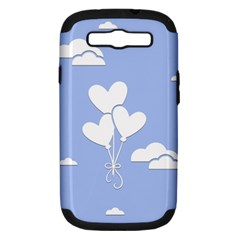 Clouds Sky Air Balloons Heart Blue Samsung Galaxy S Iii Hardshell Case (pc+silicone) by Nexatart