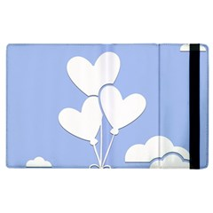 Clouds Sky Air Balloons Heart Blue Apple Ipad 3/4 Flip Case by Nexatart