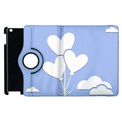 Clouds Sky Air Balloons Heart Blue Apple Ipad 2 Flip 360 Case by Nexatart