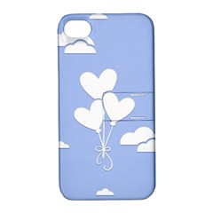 Clouds Sky Air Balloons Heart Blue Apple Iphone 4/4s Hardshell Case With Stand