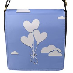 Clouds Sky Air Balloons Heart Blue Flap Messenger Bag (s)