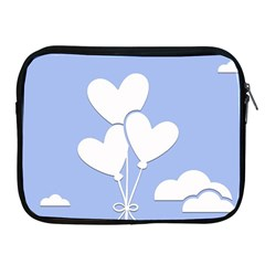 Clouds Sky Air Balloons Heart Blue Apple Ipad 2/3/4 Zipper Cases