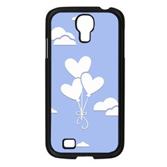 Clouds Sky Air Balloons Heart Blue Samsung Galaxy S4 I9500/ I9505 Case (black) by Nexatart