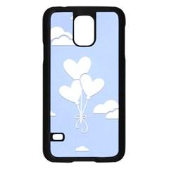 Clouds Sky Air Balloons Heart Blue Samsung Galaxy S5 Case (black) by Nexatart