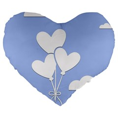 Clouds Sky Air Balloons Heart Blue Large 19  Premium Flano Heart Shape Cushions