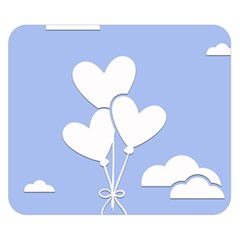 Clouds Sky Air Balloons Heart Blue Double Sided Flano Blanket (small)  by Nexatart