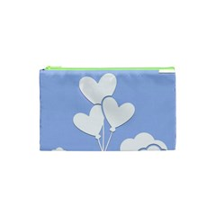Clouds Sky Air Balloons Heart Blue Cosmetic Bag (xs) by Nexatart