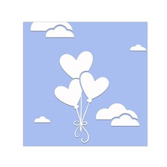 Clouds Sky Air Balloons Heart Blue Small Satin Scarf (square)